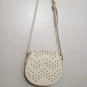 🌸 Cream Gold & Silver Studded Crossbody Bag